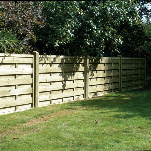 The solid boarded Milano garden panel shown in a run of fencing.