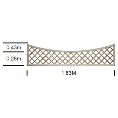 English Rose bay top scalloped top trellis 0.43m high at shoulder