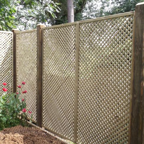 Clementine Diamond Trellis Panel installed