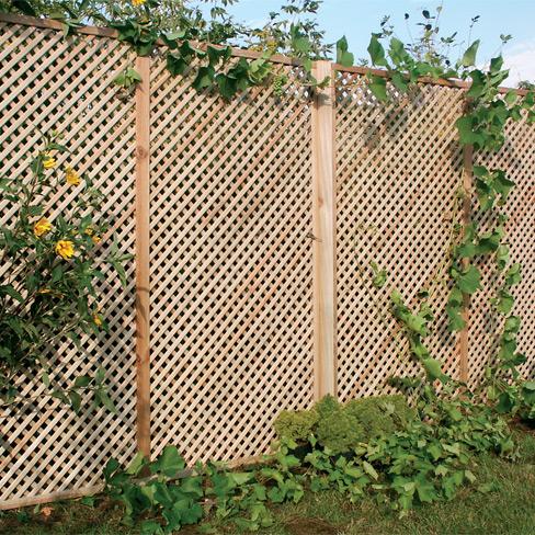 Clementine Diamond Trellis Panel installed in garden