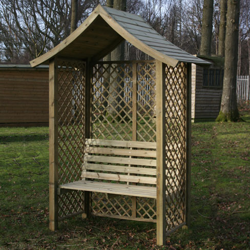 The Wiltshire Arbour Seat, positioned in garden
