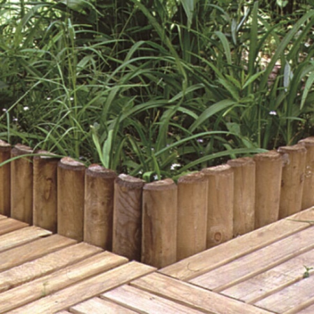 Installed Log Rolls as edging to decked area