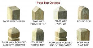 Post top options for standard closeboard fencing