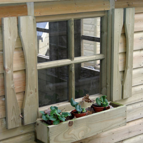 TATE Wendy House window with window box and fixed shutter detail
