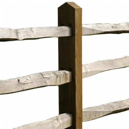 Softwood Post and Cleft Chestnut 3 rail close up
