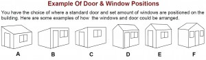 shiplap garden shed window and door positions