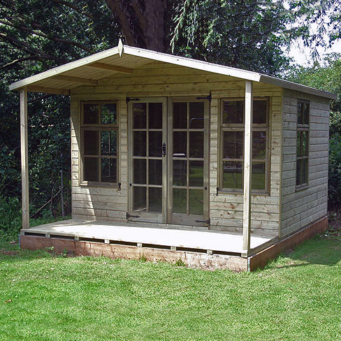 Installed TATE Chalet Summerhouse, in garden, with veranda