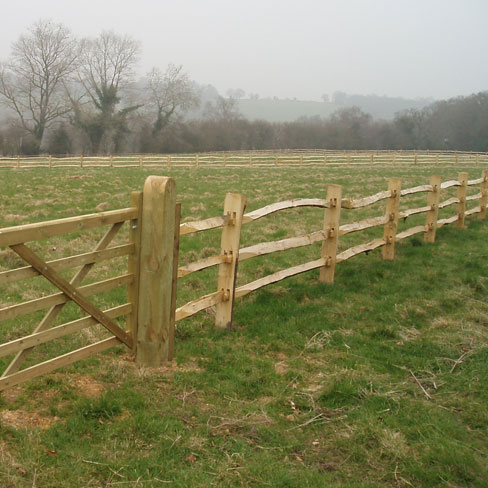 Cleft Chestnut Post and 3 rail fencing with field gate