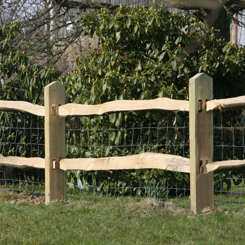 2 Cleft Chestnut Rails on Softwood posts - pictured with 2 way pointed top