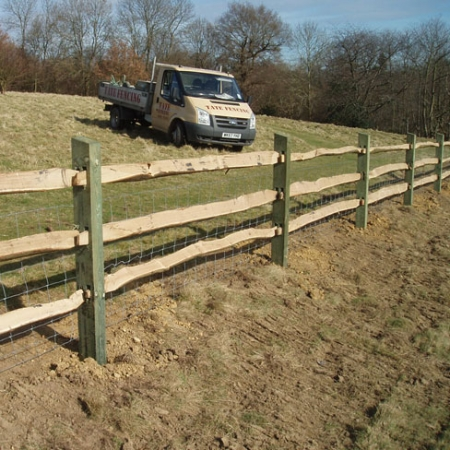 Chestnut Rails with Softwood posts (& one of our many TATE vehicles!)