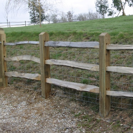 3 chestnut rails on softwood posts bay