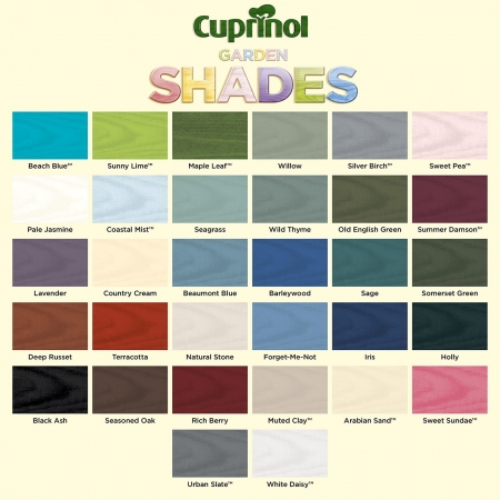Cuprinol garden shades colour chart - please call for availability and to order