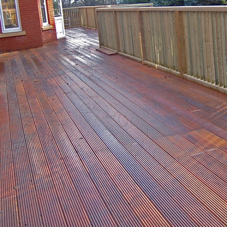 Balau hardwood decking boards grooved and reeded installed for a customer