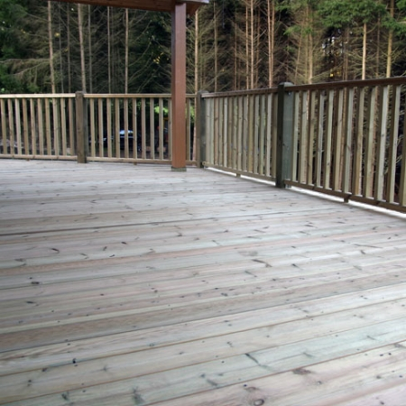 An example of an install using our grooved and reeded softwood decking ex 38 x 150mm