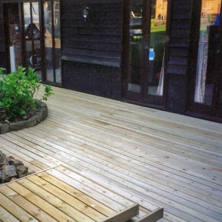 contemporary decking area installed using our bevelled decking boards.