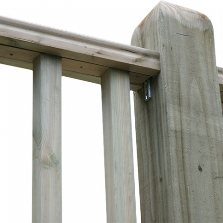 Showing the underside of the Tate Fencing hand rail - top rail