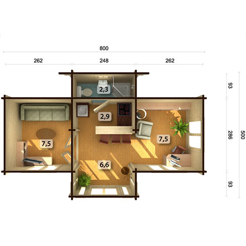Anna 26.8m²footprint and measurements, with suggested use for rooms
