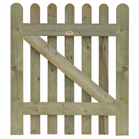Standard frame Round Top Palisade gate in prepared finish