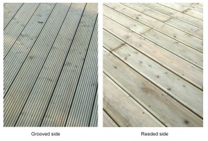 Showing the difference between the two different sides of the decking