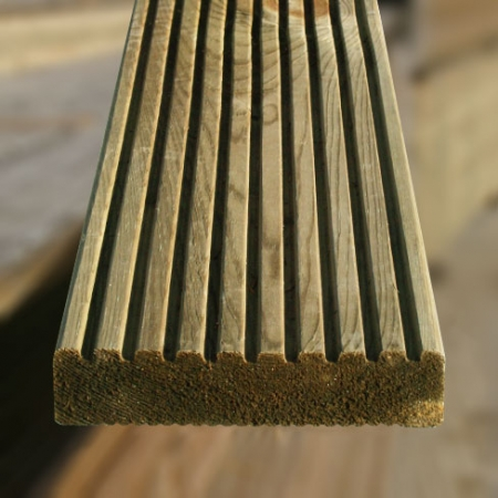 The grooved side of the ex 38 x 150mm grooved and reeded decking board