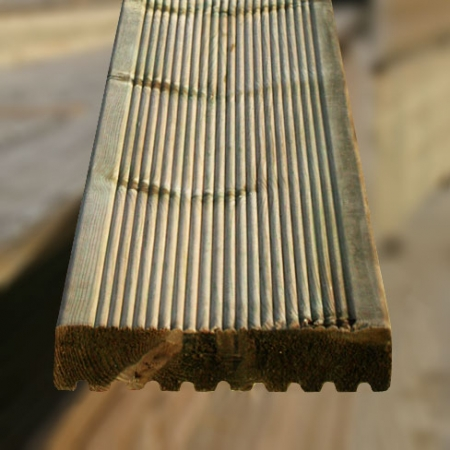The reeded side of the ex 38 x 150mm grooved and reeded decking board
