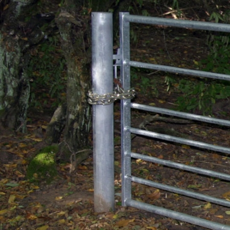 Galvanised metal gate post for a metal 5 bar gate