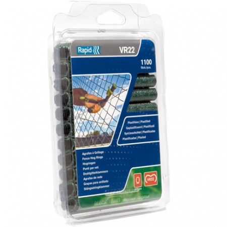 Rapid VR22 Fence clips or Hog rings green plastic coated