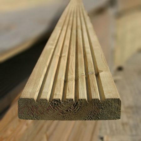 Smooth and groove decking, grooved side showing.