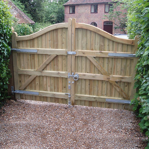 A pair of softwood Cranbourne Gates, installed on customer's entrance to driveway
