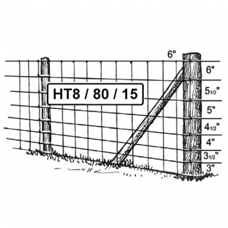 HT8/80/15 high tensile stock fencing 800mm high