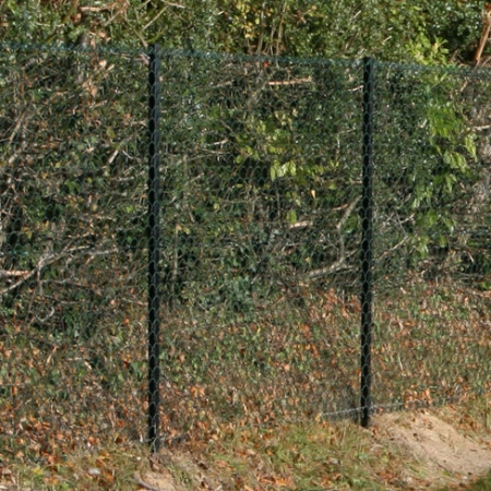 Chain Link Rolls PVC installed with black angle iron posts