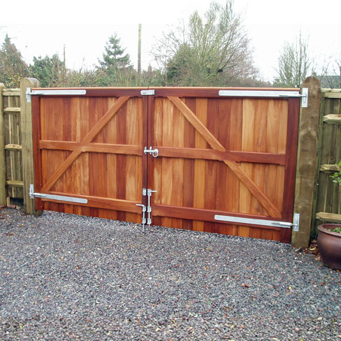Iroko hardwood Wimborne gates without horns