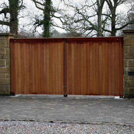 Heavy frame pair of Iroko hardwood Wimborne gates