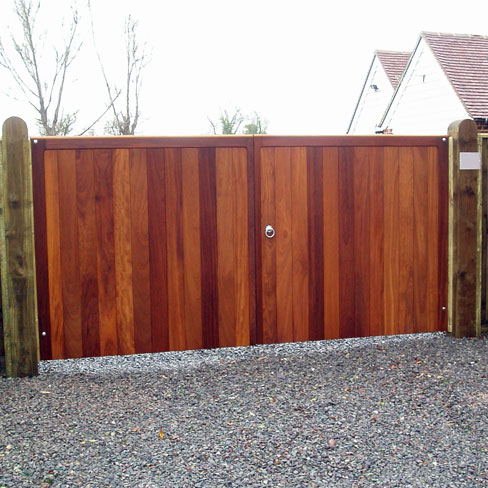 Iroko heavy frame pair of Wimborne gates without horns
