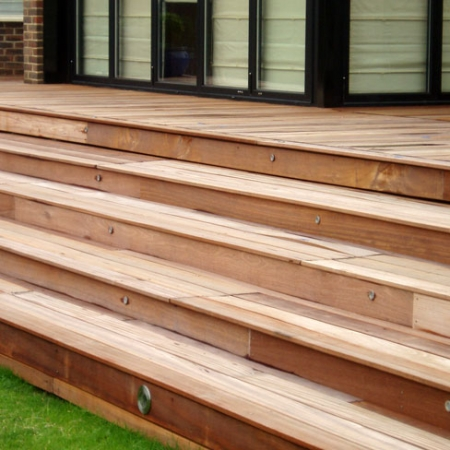 An example of smooth and grooved Balau hardwood decking installed for a customer