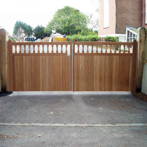 Pair of Iroko Hardwood Windsor gates installed