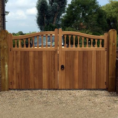 Hardwood Iroko Windsor swish top gates a pair installed