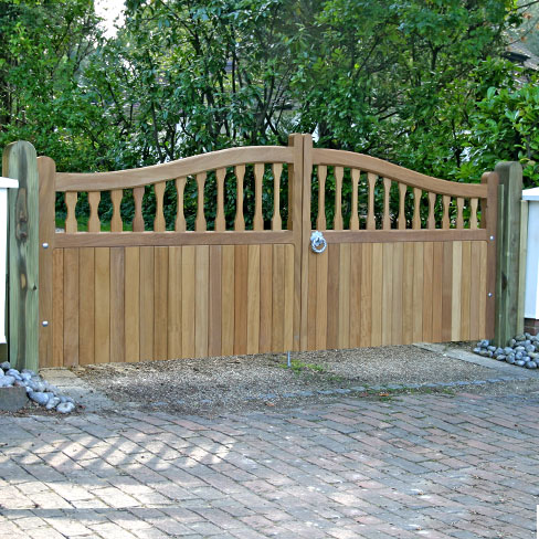 A pair of Hardwood Iroko Windsor swish top gates