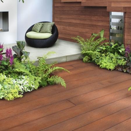 Enhanced Grain - Jarrah boards installed in garden setting