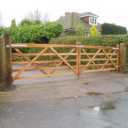 A matching pair of Iroko premiere gates
