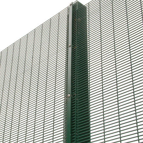 Close up detail of security mesh fencing