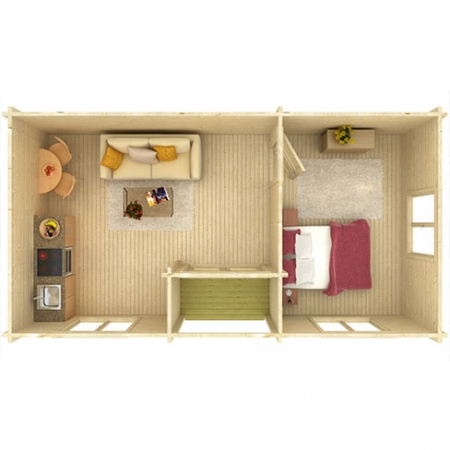 Anna 26.8m² + 1.9m² - Suggested use of space