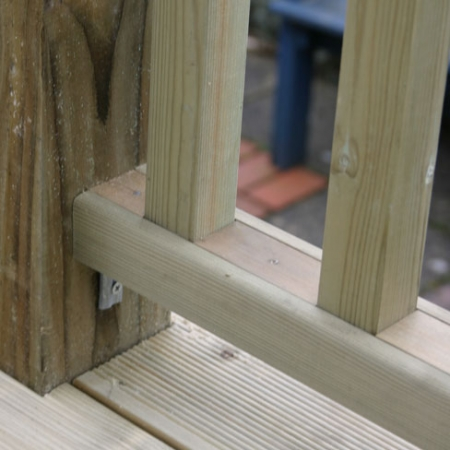 Spacers Fitted in Tate Fencing Decking Base Rail
