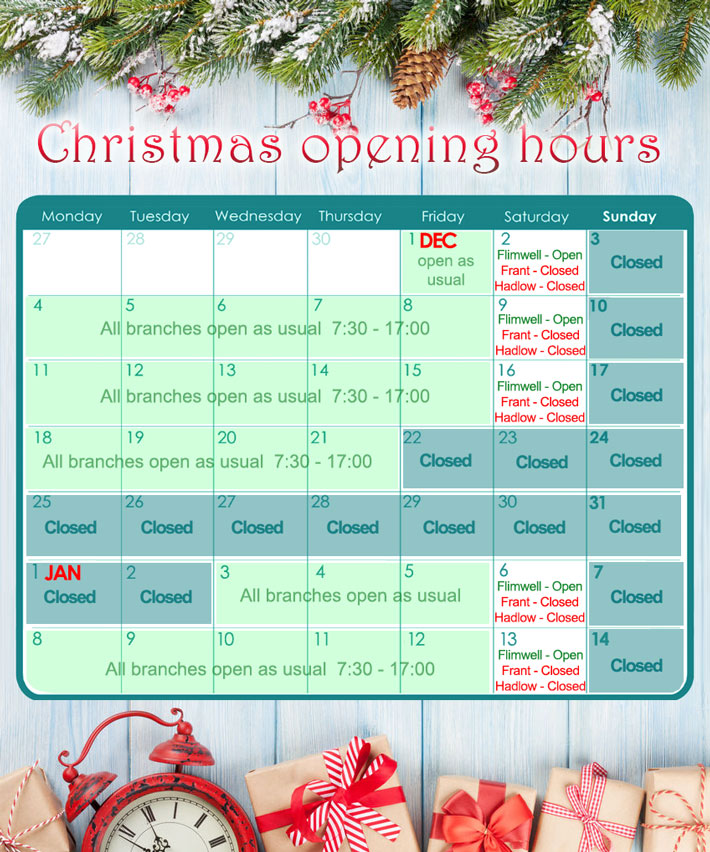 Tate Fencing Christmas opening hours