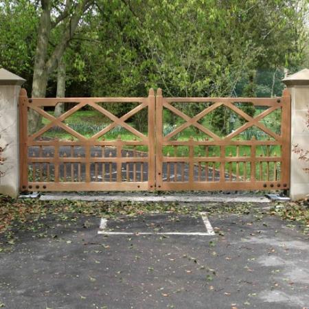 Rosedene Gates in Iroko Hardwood