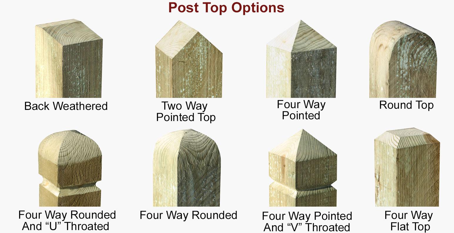 Post top options for standard closeboard fencing